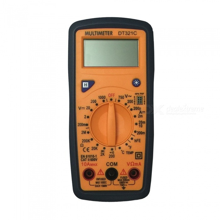 Ismartdigi DT321C LCD Handheld Digital Multimeter, Using for Home and Car - Black + YellowMultimeters<br>ColorBlack + Yellow (2 Cables) ModelDT321CQuantity1 setMaterialPlasticMax. Display1999DC Voltage200m-2-20-200-1000V             ±0.5%AC Voltage200-750V                               ±1.0%DC Current2m-20m-200m-10A                 ±1.8%Resistance200-2k-20k-200k-2M             ±1.0%Temperature TestYesPowered ByOthers,1.5V AAA battery x2 ( not included )Battery Number2Battery included or notNoPacking List1 x Multimeter2 x Cables<br>