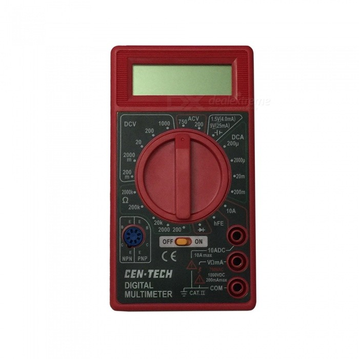 Ismartdigi DT830B.3 LCD Handheld Digital Multimeter, Using for Home and Car - RedMultimeters<br>ColorRedModelDT830B.3Quantity1 setMaterialPlasticMax. Display1999DC Voltage200m-2000m-20-200-1000V           ±0.5%AC Voltage200-750V                                 ±1.0%DC Current200u-2000u-20m-200m-10A           ±1.8%Resistance200-2000-20K-200K-2000K         ±1.0%Powered ByOthers,9V 6F22 battery ( not included )Battery Number1Battery included or notNoPacking List1 x Multimeter1 x Cable<br>