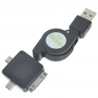 Retractable USB auf iPhone / iPod / Mini USB / Micro-USB-Daten-& Ladekabel (70cm Länge)