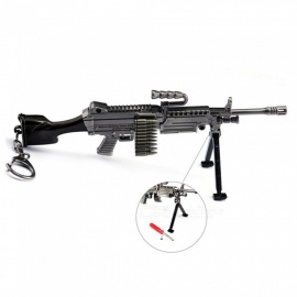 Video Game PlayerUnknown's Battlegrounds (PUGB) 16cm M249 Light Machine Gun Small Key Holder Model Keychain - Gun Color