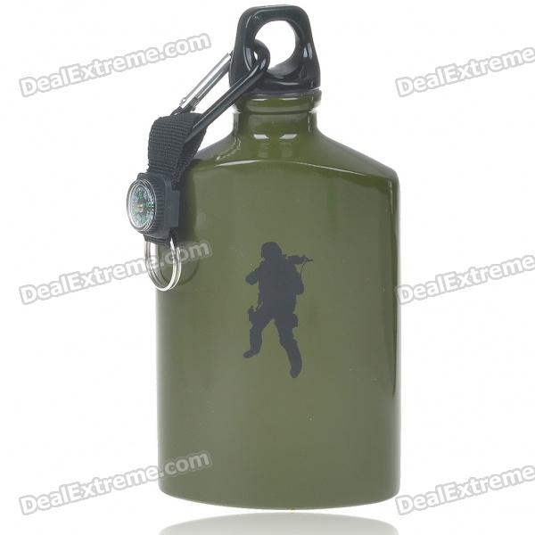 Aluminum Bottle with Compass & Carabiner - Army Green (500ml)