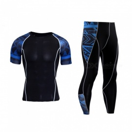 sports de plein air fit moulant à manches courtes jersey + pantalon long - noir + bleu (XXL)