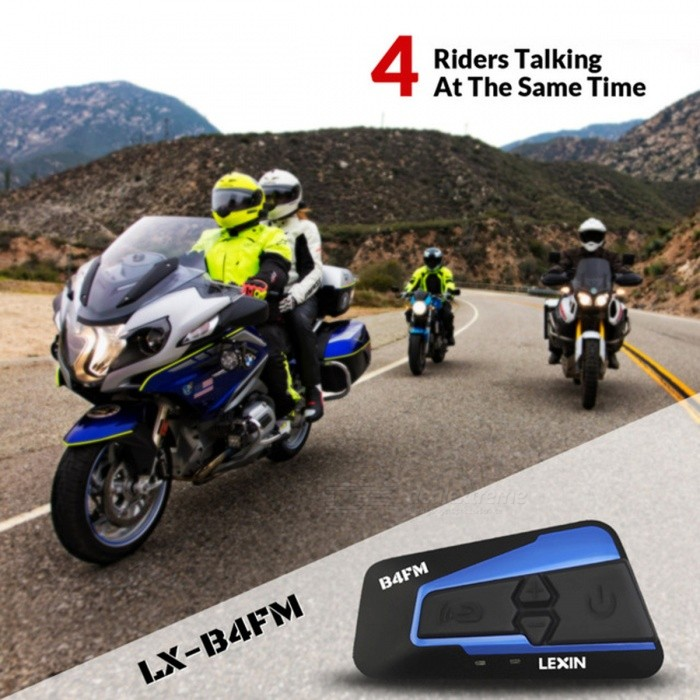 Lexin Motorcycle Bluetooth Helmet Headset Intercom with FM�� Supports 4 Riders Talking At The Same Time