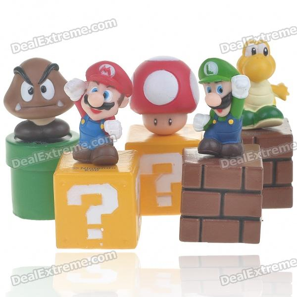 Super Mario Figure ABS Doll Toy Set - Assorted (5-Piece Set)