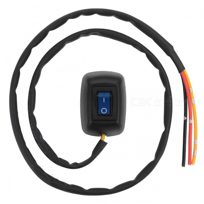 Jtron Car Adhesive Paste Button Rocker Switch with Blue Indicator Light - BlackCar Switches<br>ColorBLACK+BLUEModel04030082Quantity1 pieceMaterialAVSSIndicator LightYesRate Voltage12VRated Current10 APacking List1 x Button switch<br>