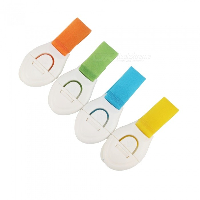 Multifunctional Nylon Ribbon Child Adjustable Lengthened Security Drawer Locks (4PCS)Other  Supplies<br>ColorBlue + Yellow + Green + OrangeMaterialABS+NylonQuantity4 piecesCertificationCEPacking List4 x Security locks<br>