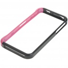 Designer's Protective Aluminum Alloy Case Bumper w/ Skin Cover Stickers for iPhone 4 - Black + Pink