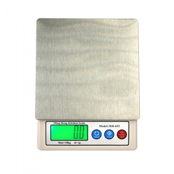 10kg/1g 2.2 Display High Quality Kitchen Scale Herb Balance Scale (2 x AA)Digital Scales<br>ColorSilver + whiteModel10kgQuantity1 setMaterialstainless steel + plastic ABSTypeKitchen ScaleScreen Size2.2 inchesMax. Weight10KGMin. Weight1GUnitg,kg,ct,lb,ozDivision1gAuto Power OffNoPowered ByAA BatteryBattery Number2Battery included or notYesPacking List1 x Electronic scale2 x AA batteries1 x Set of instructions in English and Chinese.<br>