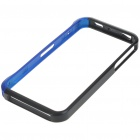 Protective Aluminum Alloy Case Bumper w/ Skin Cover Stickers for Iphone 4 - Black + Blue