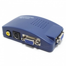 VGA to CVBS S-Video, PC to TV Video 1080P HD Converter Adapter - Blue