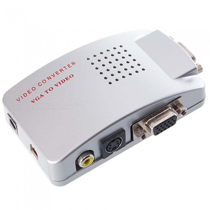 VGA to CVBS S-Video, PC to TV Video 1080P HD Converter Adapter - SilverUSB Hubs &amp; Switches<br>ColorSilverQuantity1 pieceMaterialAluminum alloyShade Of ColorSilverIndicator LightNoPort Number6With Switch ControlYesInterfaceOthers,VGATransmission RateOthers,1080P GbpsPowered ByAC ChargerSupports SystemWin xp,Win 2000,Win vista,Win7 32,Win7 64,Win8 32,Win8 64,MAC OS X,IOS,Android 2.x,Android 4.xPacking List1 x Converter1 x English manual1 x S-Video Cable 1 x VGA Cable 1 x AV Cable  (Accessories color random)<br>