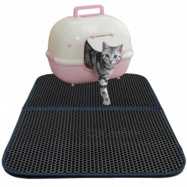 Double-Layer Honeycomb Cat Litter Trapper Mat Non-toxic EVA Mat - grey