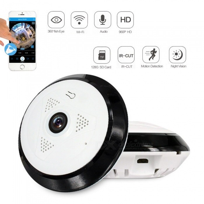 Strongshine 1.3MP 360 Degree HD Panoramic IP Network Security WiFi Camera 960P Fish Eye Lens - EU PlugIP Cameras<br>ColorWhitePower AdapterEU PlugModelST-IPCG1336U27RMaterialPlasticQuantity1 setImage SensorCMOSLensOthers,1.44MMPixels960PViewing AngleOthers,360 °Video Compressed FormatH.264Picture Resolution1280*960Frame Rate25Night VisionYesNight Vision Distance10 mWireless / WiFi802.11 b / g / nNetwork ProtocolTCP,IP,UDP,HTTP,SMTP,DHCP,NTP,DDNS,uPnPSupported BrowserIE 6.0 and aboveOnline Visitor5Mobile Phone PlatformAndroid,iOSIR-CUTYesBuilt-in Memory / RAMNoLocal MemoryYESMemory CardTFMax. Memory Supported128GPacking List1 x Camera1 x Power Adapter1 x Bag of screws1 x User Manual<br>
