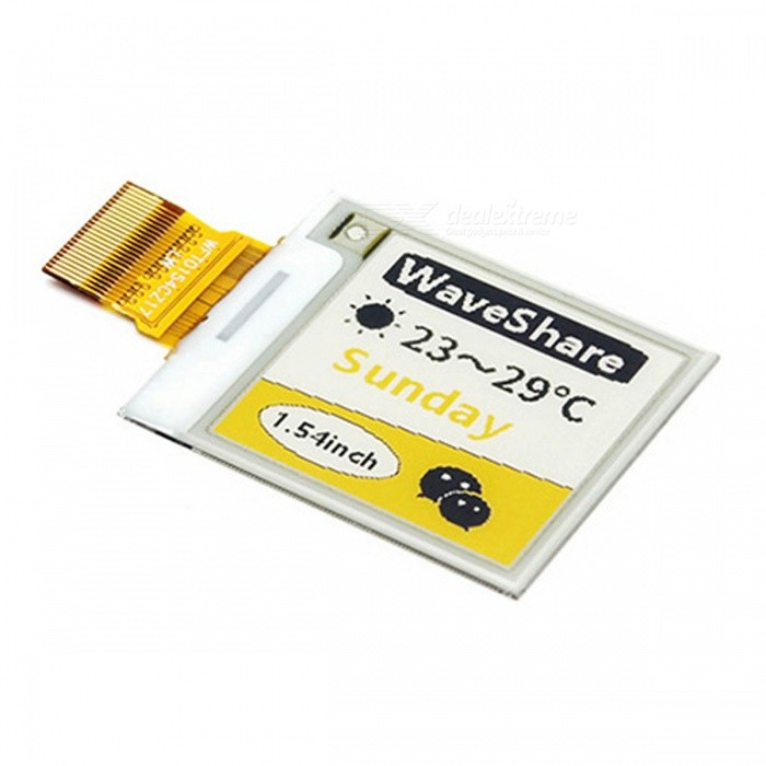 Waveshare 152x152 1.54 Inches E-Ink Raw Display Panel with Yellow / Black / White Three-colorRaspberry Pi<br>Model1.54inch e-Paper (C)Model1.54inch e-Paper (C)Quantity1 setMaterialRF4,LCDEnglish Manual / SpecNoDownload Link   www.waveshare.com/wiki/1.54inch_e-Paper_Module_(C)Packing List1 x 1.54inch e-Paper (C)<br>