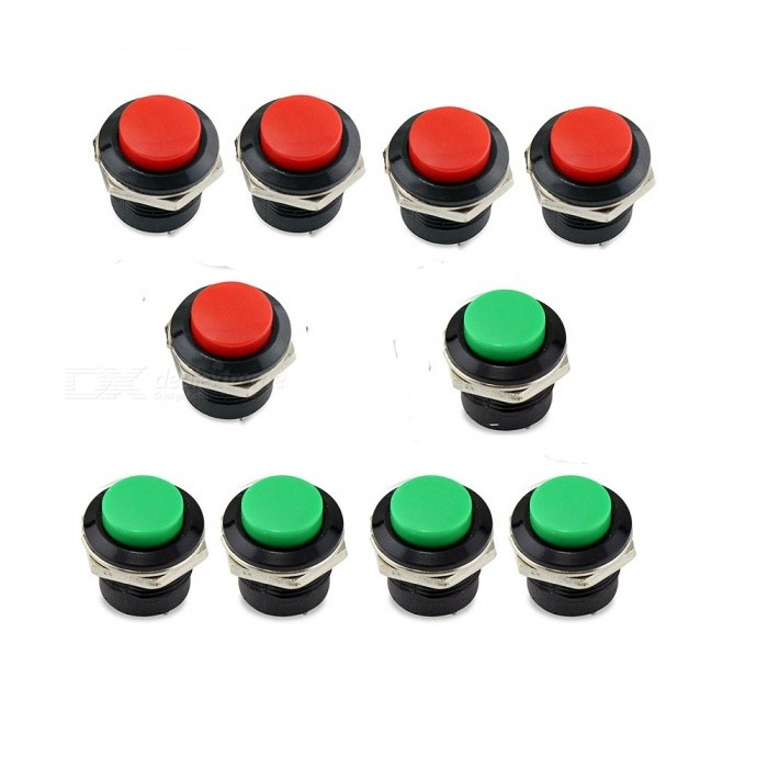 ZHAOYAO AC 125V 6A AC 250V 3A Car Auto Momentary On / Off Horn Switches for Car, Push Round Button Switches - Red + GreenSwitches &amp; Adapters<br>Quantity10pcsQuantity1 setMaterialMetal, PlasticPower Range-Max. Current-Working Temperature- ?Other Features-Certification-Packing List10 x Push Button Switches<br>