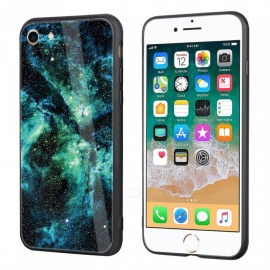 daypirit starry sky pattern tempered glass back cover case para IPHONE 7, IPHONE 8 - verde