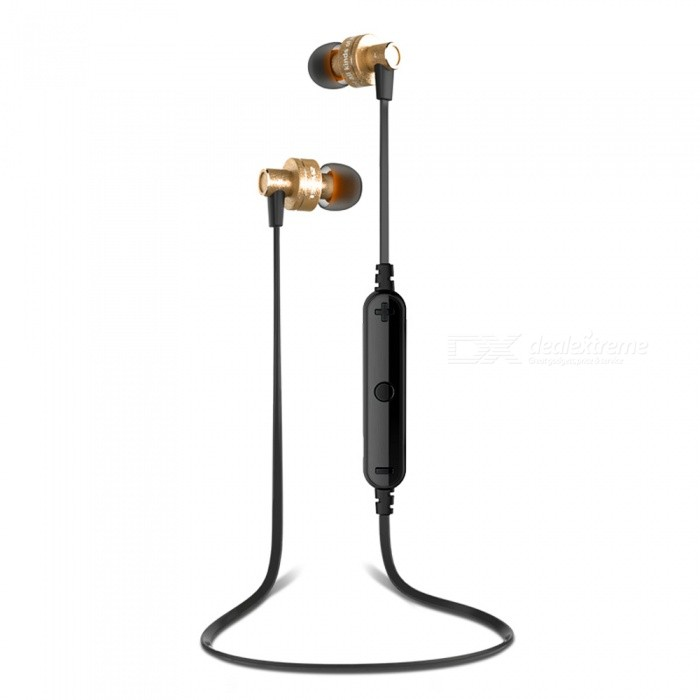 Awei A990BL Sports Wireless Bluetooth Stereo Earphones Noise Reduction Headset with Microphone - GoldenHeadphones<br>Form  ColorGoldBrandAWEIModelA990BLMaterialMetalQuantity1 setConnectionBluetoothBluetooth VersionBluetooth V4.1Bluetooth ChipCSR4.1Operating Range10mConnects Two Phones SimultaneouslyYesLeft &amp; Right Cables TypeEqual LengthHeadphone StyleBilateral,Earbud,In-EarWaterproof LevelIPX4Applicable ProductsUniversalHeadphone FeaturesEnglish Voice Prompts,Phone Control,Noise-Canceling,Volume Control,With Microphone,Lightweight,Portable,For Sports &amp; ExerciseSupport Memory CardNoSupport Apt-XNoChannels5.1Driver Unit11.5mmBattery TypeLi-polymer batteryBuilt-in Battery Capacity 55 mAhStandby Time200 hoursTalk Time6 hoursMusic Play Time4 hoursPacking List1 x Bluetooth Headphone3 x Pairs of ear caps2 x Ear hooks1 x USB cable<br>