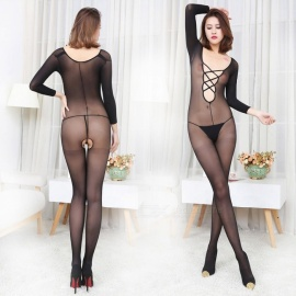 Fanshimite Sexy Translucent Thin Crotchless Round Neck Siamese Stockings for Women
