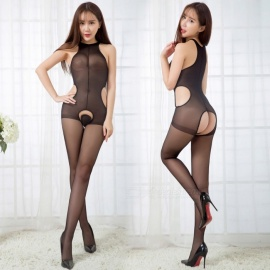 Fanshimite Sexy Translucent Vest with Silk Stockings - Black