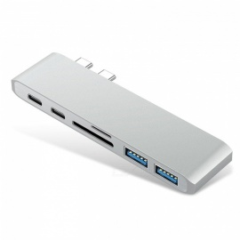 Dayspirit 6-in-1 USB-C Type-C to USB3.0 Hub with PD Charger, SD / Micro SD Card Reader - Silver
