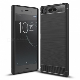 Dayspirit Wire Drawing Carbon Fiber TPU Back Case for Sony Xperia XZ1 - Black