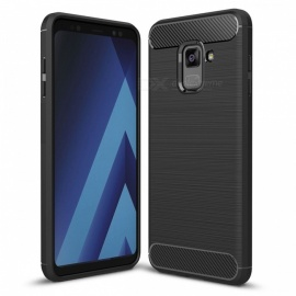 Dayspirit Wire Drawing Carbon Fiber TPU Back Case for Samsung Galaxy A8 (2018) , A530 - Black