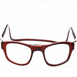 Convenient Magnetic Hanging Neck Type Reading Glasses for Elderly, Parents - Brown