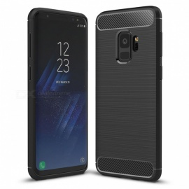 Dayspirit Wire Drawing Carbon Fiber TPU Back Case for Samsung Galaxy S9 - Black