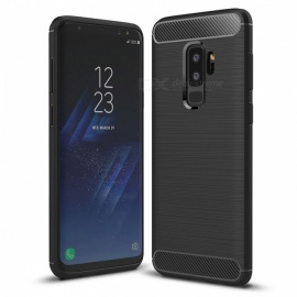 dayspirit wire drawing fibra de carbono caso TPU para samsung galaxy S9 plus, S9 + - preto