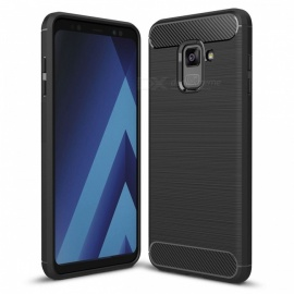 Dayspirit Wire Drawing Carbon Fiber TPU Case for Samsung Galaxy A8+ (2018) , A8 Plus 2018 , A730 - Black