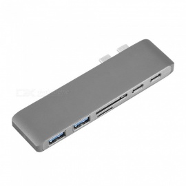 Dayspirit 6 IN 1 USB Type C Hub, SD Micro SD Card Reader, Type-C to USB 3.0 Adapter - Gray