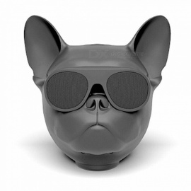 Creative Skull Dog Head Shape Bluetooth Speaker - Black (Size L)