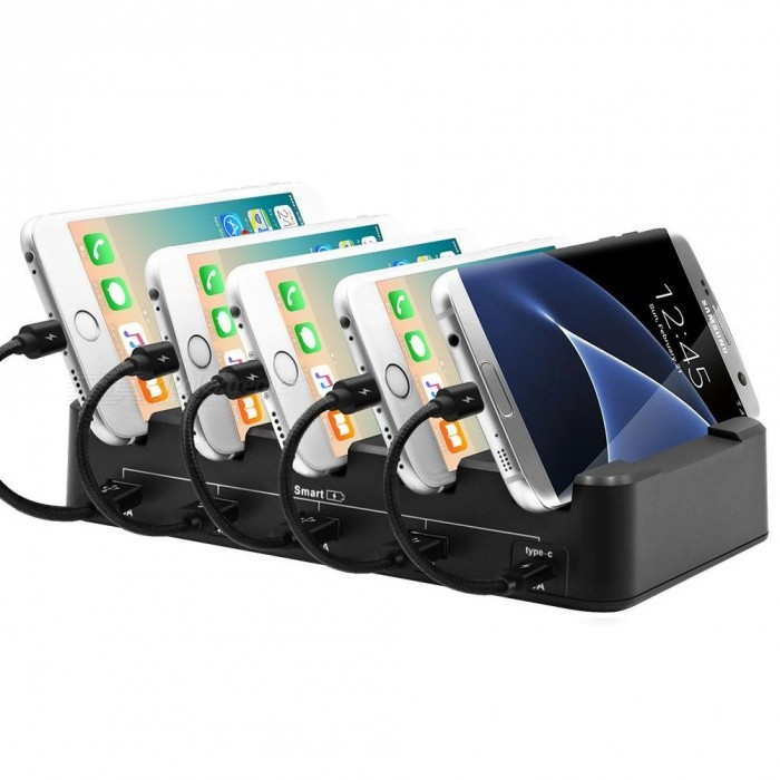 Cell Phone Charging Station with USB Type C Port, Smart 5-Port Desktop USB Charging Station Dock &amp; Organizer (EU Plug)USB Hubs &amp; Switches<br>ColorEU PlugQuantity1 setMaterialPVCShade Of ColorBlackIndicator LightNoPort Number4 USB ports (each ports Max.2.4A)+ 1 Type-C to Type-C port (Max.3A)With Switch ControlYesInterfaceUSB 3.0Transmission RateOthers,N/A MbpsPowered ByAC ChargerSupports SystemOthers,USB-powered mobile devices: iOS &amp; Android smartphones (including for iPhone/IPAD), tablets, cameras, smartwatches, eReaders, Bluetooth headsets &amp; speakers, wearables &amp; morePacking List1 x USB charging station1 x Power cable1 x User manual<br>