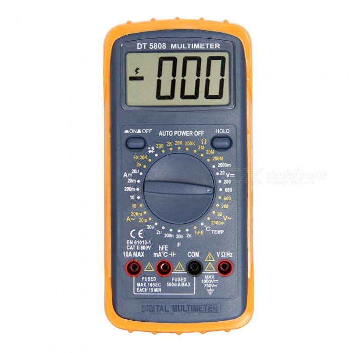 Ismartdigi DT-5808 LCD Handheld Digital Multimeter Using for Home and Car - Black + RedMultimeters<br>ColorDT-5808ModelDT-5808Quantity1 setMaterialplasticMax. Display1999DC Voltage2000m-20-200-600V                       ±0.5%AC Voltage2000m-20-200-600V                              ±1.0%DC Current20u-20m-200m-10A                        ±1.8%Resistance200-2K-20K-200K-2M-20M-200M           ±1.0%Capacitance Accuracy2n-20n-200n-2u-20uF                    ±4.0%Frequency Accuracy2k-20kHz                                 ±3.0%Temperature TestYesPowered ByOthers,9V 6F22 battery ( not included )Battery Number1Battery included or notNoPacking List1 x Multimeter2 x Cables1 x Adapter<br>