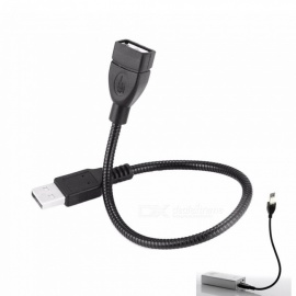 Cwxuan Flexible Mesh Metal USB 2.0 Male to Female Extension Cable for Laptop / PC - Black