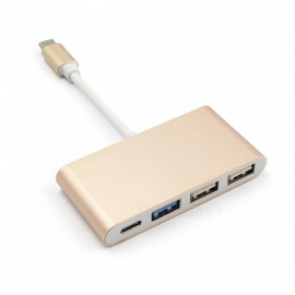Dayspirit Type-C HUB, USB 3.1 to 1-USB3.0 2-USB2.0 Cable Adapter - Golden