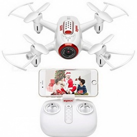 syma X22W FPV mini pocket drone voor beginners met HD WI-FI camera RC quadcopter altitude hold en headless-modus - wit