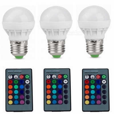 ZHAOYAO 3PCS Dimmable E27 3W AC 85-265V LED Light Bulb RGB 16 Colors Remote Controller Included