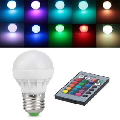 ZHAOYAO Dimmable E27 3W AC 85-265V LED Light Bulb RGB 16 Colors Remote Controller Included