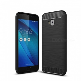 Dayspirit Wire Drawing Carbon Fiber TPU Back Case for Asus Zenfone 4 Selfie Pro ZD552KL - Black