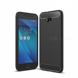 Dayspirit Wire Drawing Carbon Fiber TPU Back Case for Asus Zenfone 4 Selfie ZD553KL - Black