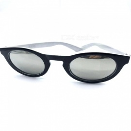 Retro UV400 Protection Round PC Frame Resin Lens Coating Sunglasses for Women - Black + White