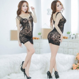 Women's Sexy Semi-transparent Lace Jacquard Package Hip Dress Sexy Lingeries - Black