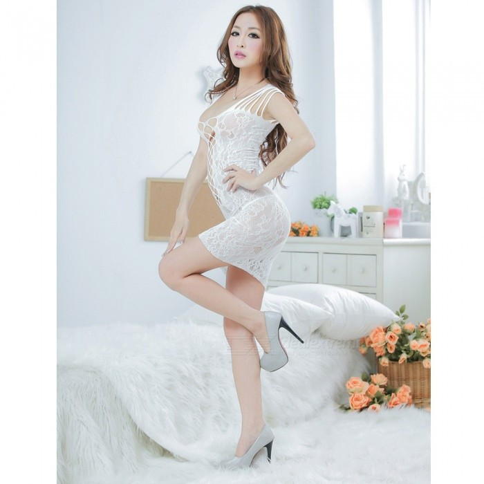 ... Women s Sexy Semi-transparent Lace Jacquard Package Hip Dress Sexy  Lingeries - White ... 6b88b260b