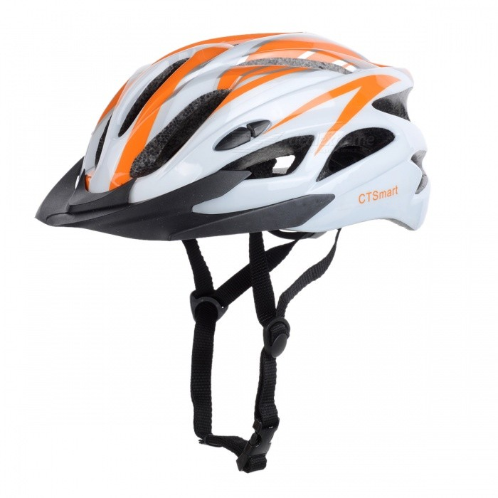 CTSmart Lightweight Outdoor Riding Cap, One-piece Safety Helmet - White + Orange (One Size)Helmets<br>ColorWhite + OrangeQuantity1 pieceMaterialEPS + PCHead Circumference58-62 cmSuitable forAdultsGenderUnisexBest UseCycling,Mountain Cycling,Recreational Cycling,Road Cycling,Triathlon,Bike commuting &amp; touring,Cross-trainingPacking List1 x Helmet<br>