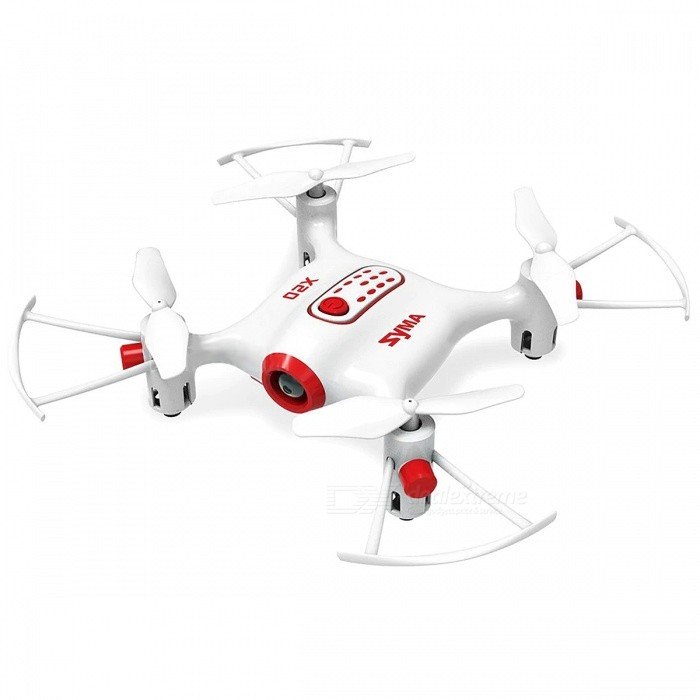 SYMA X20 Mini Drone RC Quadcopter Helicopter 4 Channel Headless Mode Altitude Hold Aircraft Toy For Boys - WhiteR/C Airplanes&amp;Quadcopters<br>ColorWhiteModelX20MaterialPlasticQuantity1 setGyroscopeYesChannels Quanlity4 channelFunctionOthers,3D rollover,Forward/backward,Headless Mode,Hover,One Key Landing,One Key Taking Off,Sideward flight,Slow down,Speed up,Turn left/right,Up/down,With lightRemote TypeRadio ControlRemote control frequency2.4GHzRemote Control Range20 mSuitable Age 8-11 years,12-15 years,Grown upsCameraNoLamp YesBattery TypeLi-ion batteryBattery Capacity180 mAhCharging Time50 minutesWorking Time5 minutesRemote Controller Battery TypeAARemote Controller Battery Number4 x AA battery (not included)Remote Control TypeWirelessModelMode 2 (Left Throttle Hand)Packing List1 x Pocket Drone1 x Remote Control1 x Instruction Manual1 x Screwdriver4 x Spare Propeller 1 x USB Cable<br>
