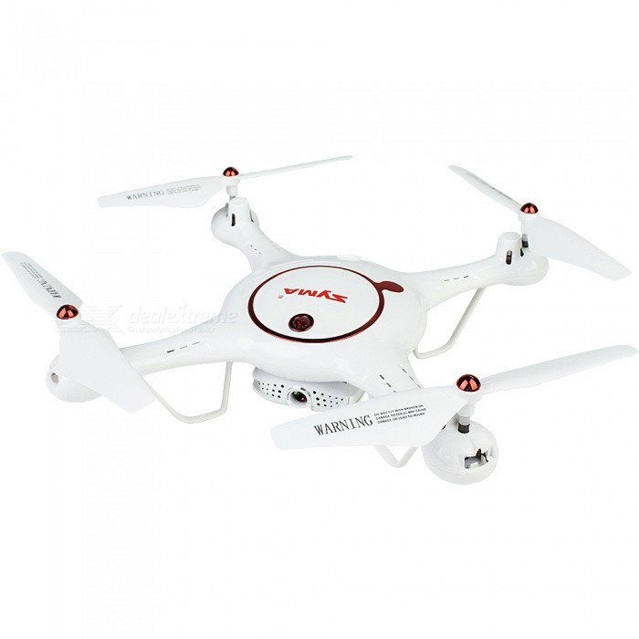 SYMA X5UW-D FPV RC Drone Folding RTF Quadrocopter with WiFi Camera - White + RedR/C Airplanes&amp;Quadcopters<br>ColorWhite + RedModelX5UW-DMaterialPlasticQuantity1 setShade Of ColorWhiteGyroscopeYesChannels Quanlity4 channelFunctionOthers,3D stunt,Camera,Forward/backward,FPV,Headless Mode,Height Holding,Turn left/right,Up/down,WiFi ConnectionRemote TypeRadio ControlRemote control frequency2.4GHzRemote Control Range80 mSuitable Age 12-15 years,Grown upsCameraYesCamera Pixel0.3MPLamp YesBattery TypeLi-ion batteryBattery Capacity500 mAhCharging Time130 minutesWorking Time7 minutesRemote Controller Battery TypeAARemote Controller Battery Number4 x AA batteries(not include)Remote Control TypeWirelessModelMode 2 (Left Throttle Hand)Packing List1 x RC Drone (Battery Included)1 x Transmitter4 x Propeller1 x USB Cable1 x Screwdriver1 x Card Reader1 x Phone Holder<br>