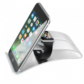 Miimall 3-In-1 Stand for Apple iWatch, Cellphone and Tablet, Portable Charging Stand Dock Station Cradle Holder - Silver