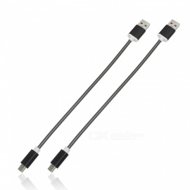 2Pcs 3.4A Stainless Steel Spring Quick Charge Type-C USB 3.1 to USB Charging Cable - Black (24CM)