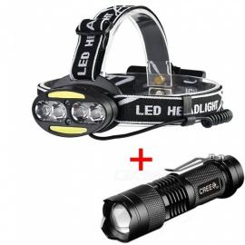 AIBBER TONE IR Sensor USB Rechargeable Headlamp 4-LED XM-L T6 2-COB Headlight + Flashlight